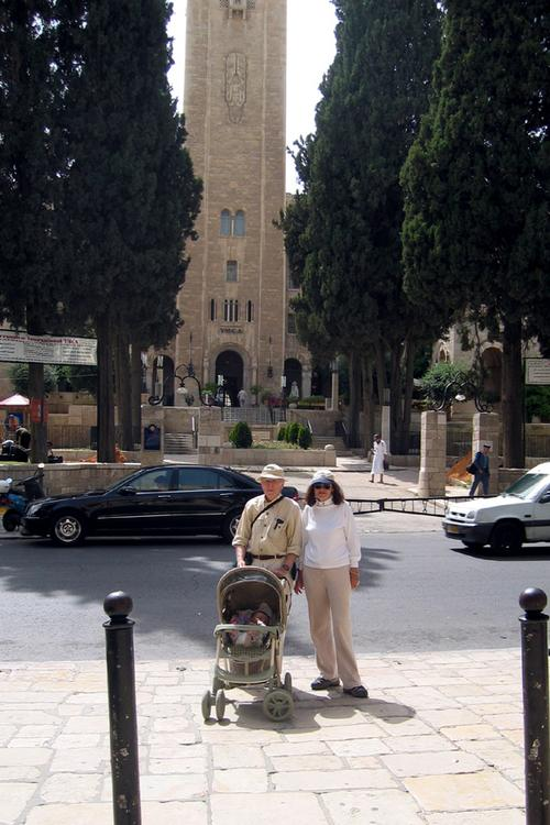 Mom & Dad and Yonah in front of the King David Hotel (across from the YMCA Tower)