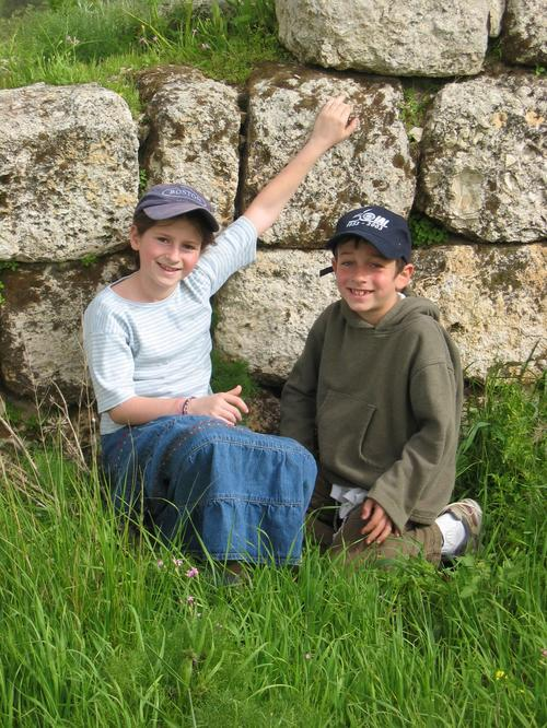 Ari and Gili taking a rest beside some of the ancient ruins on Givat HaTurmusim