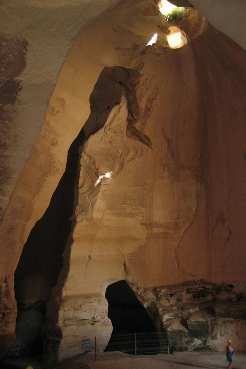 Inside one of the bell caves (note person in lower right corner for scale)